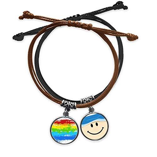 Bestchong Stippling Rainbow - Pulsera de piel con diseño de cara sonriente y lesbiana LGBT