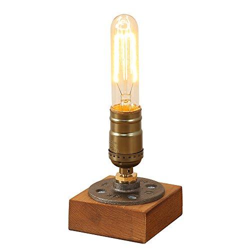 INJUICY Loft Vintage Industriell Edison Hölzern Metall Schmiedeeisen Schreibtischlampen Antiken Steampunk Tischlampe Schreibtisch Licht Tisch für Café Balkon Nachttisch Flur Schlafzimmer Wohnzimmer