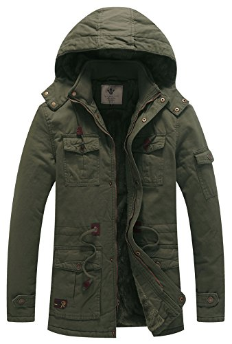 Mens Insulated Cotton Army Green Parka Jacket with Detachable Hood