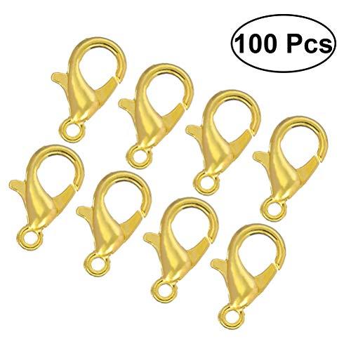 rosenice 1007x 12mm Karabiner Verschlüsse Curved Verschluss Haken für DIY Schmuck Halskette zum Basteln (Gold)
