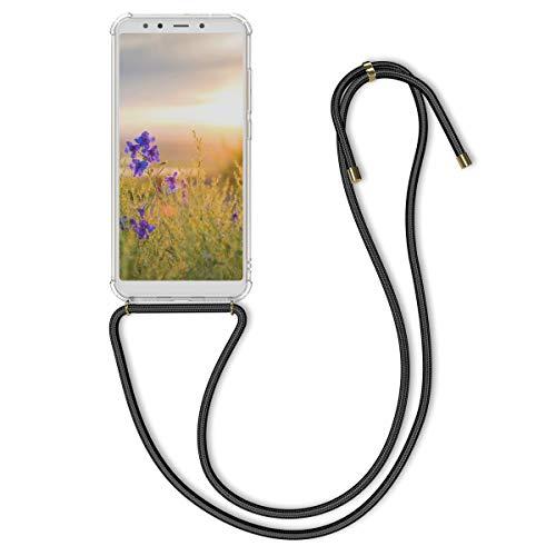 kwmobile Carcasa Compatible con Xiaomi Mi 6X / Mi A2 - Funda Transparente TPU con Cuerda para Colgar - Negro/Transparente