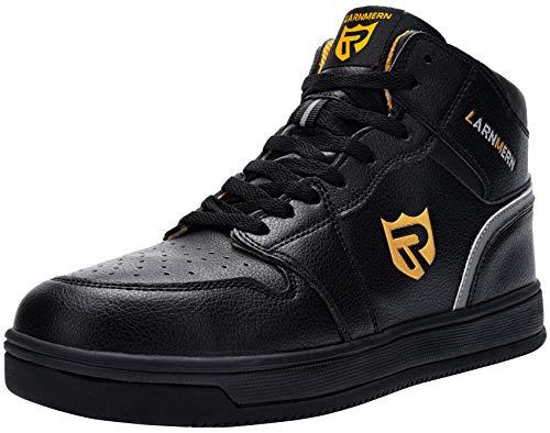 LARNMERN Steel Toe Safety Shoes for Men,Lightweight Waterproof Work Boots,Non-Slip Safety Sneaker (Black 10.5 Men)