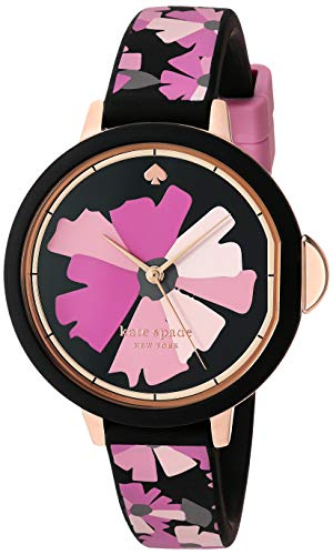 Kate Spade New York Women's Park Row Quartz Metal, Silicone Three-Hand Sports Watch, Color: Rose Gold, Black/Pink Floral (Model: KSW1582)
