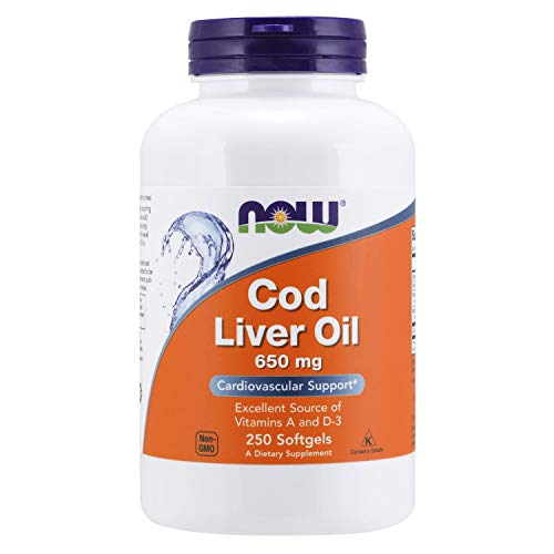 NOW Supplements, Cod Liver Oil 650 mg, Excellent Source of Vitamins A and D-3, 250 Softgels