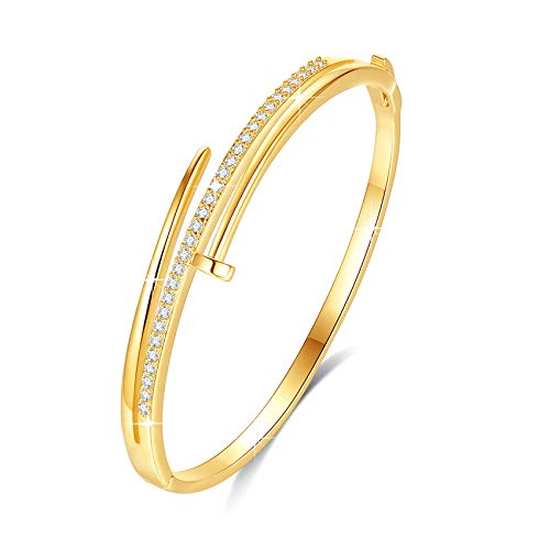 VICISION Bangle Bracelet for Women with Cubic Zirconia Gold Nail Cuff Jewelry