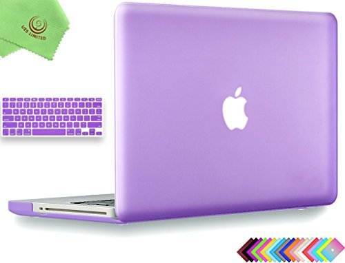 UESWILL 2in1 Smooth Soft Touch Matte Hard Shell Case with Silicone Keyboard Cover Compatible with MacBook Pro 13 inch with CD-ROM (Non-Retina) (Model A1278) + Microfibre Cleaning Cloth, Purple