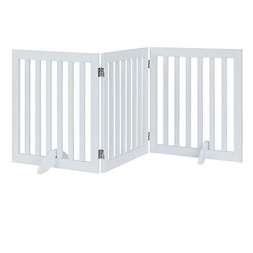 unipaws Puerta Plegable de Madera para Mascotas, con 2 Patas de Apoyo para Perros, Barrera para Interior de Mascotas, Paneles para escaleras, Color Blanco