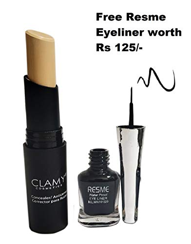 AYA Clamy Concealer Super Stay Panstick, with Free Resme Eyeliner...