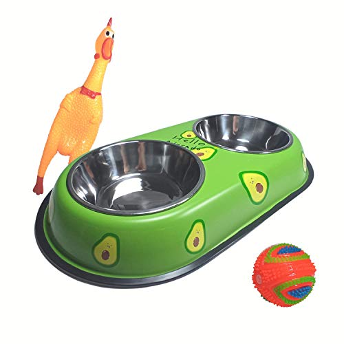 Pack» Comedero y Bebedero Perro Gato Cachorro Pequeño Doble Moderno, con Platos de Acero Inoxidable + Pollo pito + Pelota Juguete(Verde)