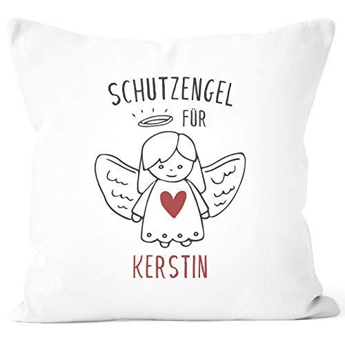 SpecialMe® Kissen-Bezug Schutzengel mit Namen Glücksbringer personalisierte Geschenke Dekokissen Glückskissen weiß Unisize