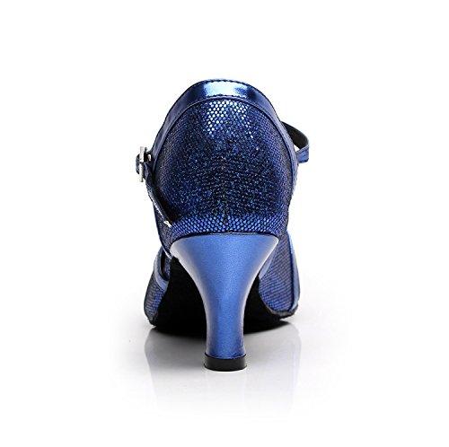 Minitoo qj6133Damen Geschlossen Zehen High Heel PU Leder Glitzer Salsa Tango Ballsaal Latin t-strap Dance Schuhe, Blau Blue-6cm Heel,38 EU/5.5 UK - 3