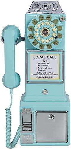 Crosley CR56-AB 1950 - Teléfono público con tecnología de botón pulsador, Color Azul