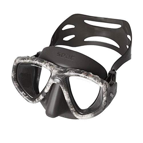 SEAC One Máscara de Buceo, Lentes graduadas para miopía Disponibles, Unisex-Adult, Negro/Gris Camo, estándar