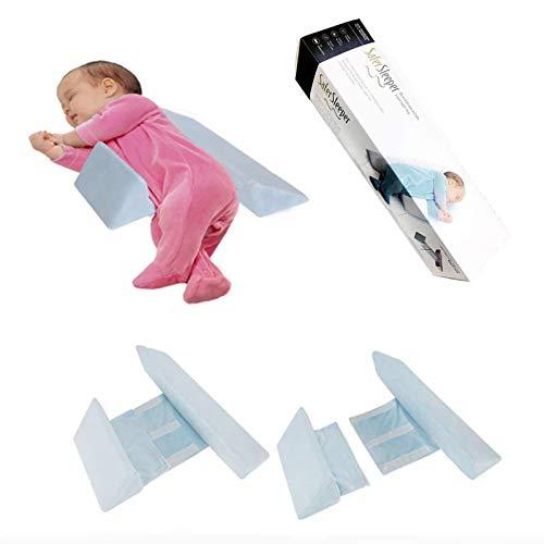 Seitenstützkissen Babys, Baby-Keilkissen aus atmungsaktiver Velvet, Einfach zu verwenden, Abnehmbares, abnehmbares und waschbares Kissen gegen Überschlag Drei Farben (Blau)