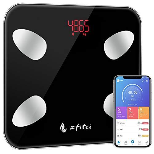ZFITEI - Báscula inteligente Bluetooth con 15 funciones esenciales, báscula de baño digital de precisión, balanza inteligente IMC con aplicación para smartphone, color negro