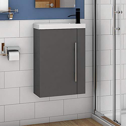 Badmöbel Set 45 cm Waschbecken mit Unterschrank Waschtisch Gäste WC kleinmöbel Anthrazit