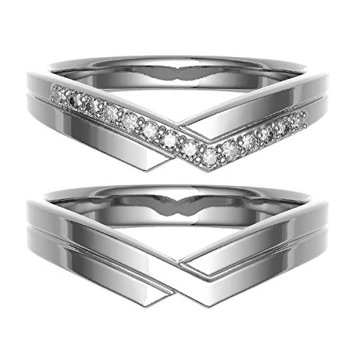 [ココカル]cococaru ペアリング 結婚指輪 シルバー 2本セット マリッジリング ダイヤモンド 日本製(レディースサイズ1号 メンズサイズ9号)