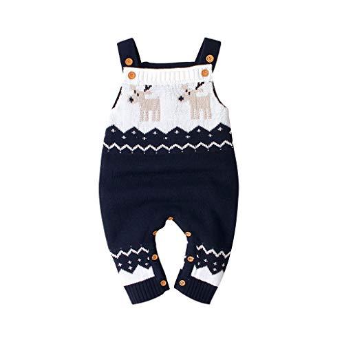 WEXCV Baby Weihnachten Strampler Unisex Mädchen Jungen Latzhose Romper Bib Pants Outfits Hosenträger Gestrickt Schultergurt Weihnachtshirsch...