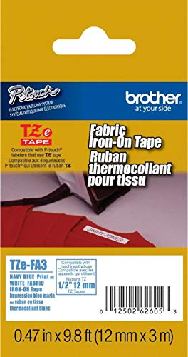 """Brother Genuine P-touch TZE-FA3 Tape, 1/2"""" (0.47"""") Wide Fabric Iron-On Tape, Navy Blue on White, Can be Ironed onto Virtually Any Cotton Item, 0.47"""" x 9.8' (12mm x 3M), Single-Pack, TZEFA3"""