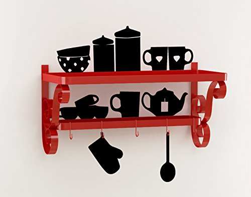 Home Sparkle Mild Steel Cup Plate Rack with Wall Stickers
