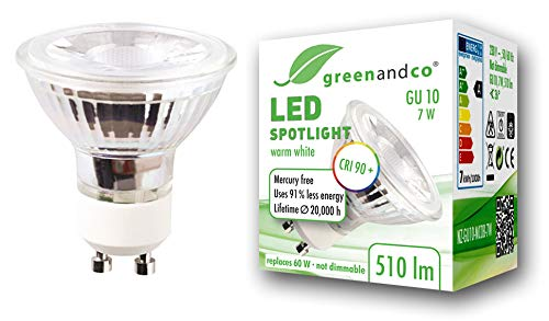 Spot LED greenandco® IRC90+ 3000K 36° GU10 7W (corresponde a 60W) 510lm SMD LED 230V AC, sin parpadeo, no regulable