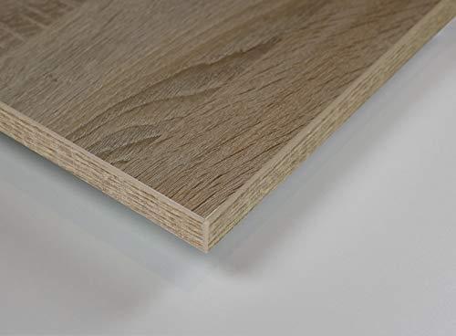 MySpiegel.de Tischplatte Holz Zuschnitt nach Maß Beschichtete Holzdekorplatte in 25mm (180 x 80 cm, Sonoma Eiche)