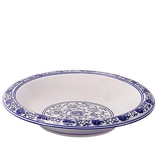 Warm zjyhpm Chinesisches Retro- Blaues Und Weißes Porzellan-Spezielles Hauptsalat-Keramisches Platten-Kaltes Teller Kimchi-Bauerngeschirr, 14 Zoll