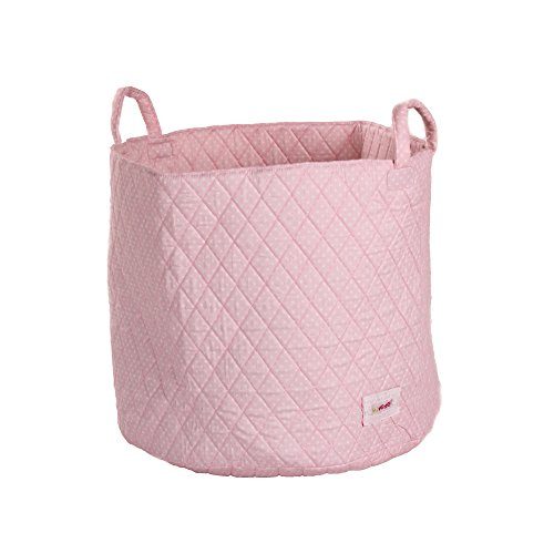 Minene Storage Basket with White Polka Dot (Large, Pink)