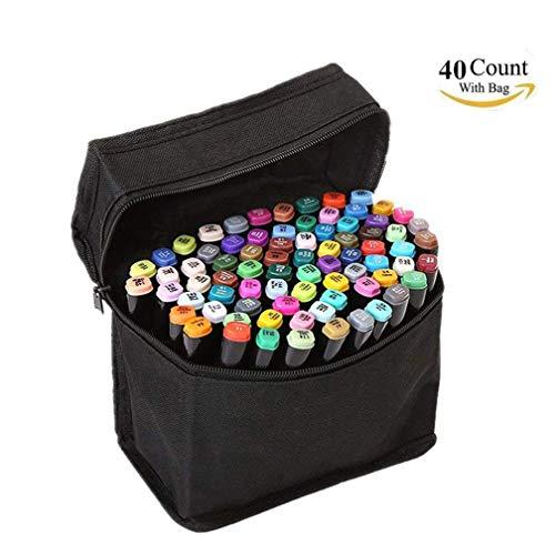 Juego de rotuladores de doble punta de 80 colores, marcadores permanentes, para retratos, dibujos manga, ilustraciones o para colorear 40 Colors negro