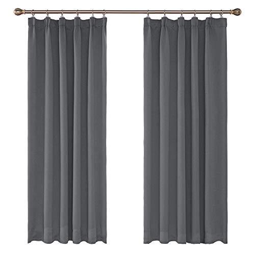 Amazon Brand - Umi 2 Schals Kräuselband Vorhang Blickdicht Smokband Gardine Schlafzimmer 175x140 cm (LxB) Hellgrau