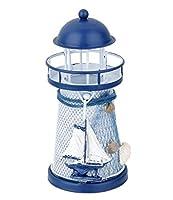RICISUNG 鉄燭台 地中海スタイル 灯台 小さな ledライト Sailing