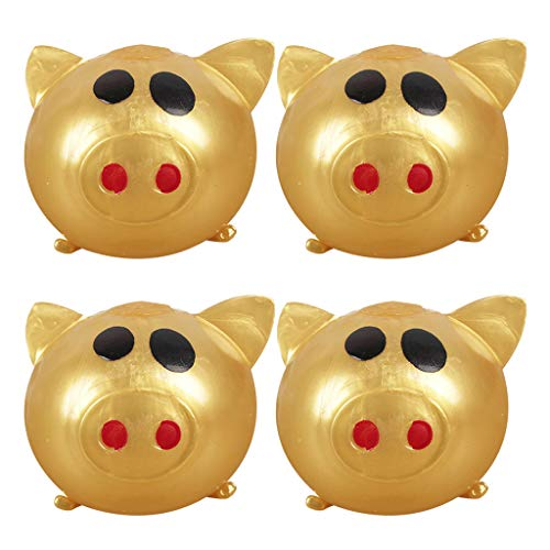 Miss Fortan Squeeze Squishy 4pcs Jello Pig Nette Anti-Stress-Splat Water Pig Ball Vent Sound Entlüftung Sticky Pig