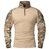 CARWORNIC Men's Assault Military Tactical Combat Shirt Short Long Sleeve Outdoor Army T Shirt (CP, US XL)