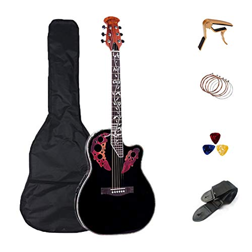 KEPOHK 41 pulgadas acústica guitarra eléctrica de 6 cuerdas Abeto sólido Folk Diapasón de palisandro Crack 41 pulgadas negro