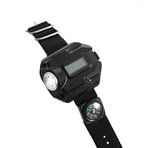 LED Flashlight Wrist Watch USB Rechargeable Wrist Torch Light with Compass Portable Tactical Wristlight Running Light Wrist