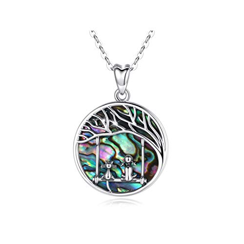 INFUSEU Tree of Life Necklace, 925 Sterling Silver Cat and Girls Friendship Pendant with Natural Abalone Shell Jewelry, Gifts for Women Girls