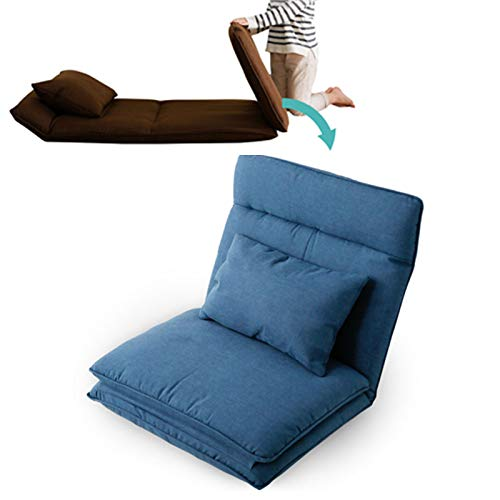 XIJING Faltbares Bodencouchbett/Lazy Gaming Chair/Tatami Soft Cushion Recliner für Schlafzimmer Single Small Sofa,Blau