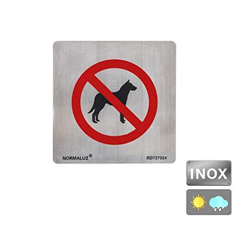 Normaluz RD727024 Selbstklebendes Schild für Hunde, Edelstahl, selbstklebend, 0,8 mm, 12 x 12 cm