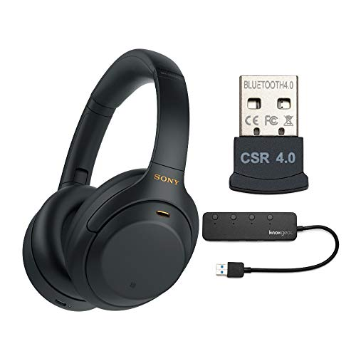 Sony WH-1000XM4 Wireless Noise Canceling Over-Ear Headphones (Black) with Knox Gear 4-Port USB 3.0 Hub and USB Bluetooth Dongle Adapter Work from Home Bundle (3 Items)