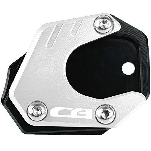 Motorrad CNC Aluminium Seitenständer Vergrößerung Seitenständer Platte für Honda CB650R Neo Sports Cafe 2019 2020 CBR650R 2019-2020 CB500F CB500X 2013-2020 CB125R CB300R 2018-2020-Schwarz+Silber