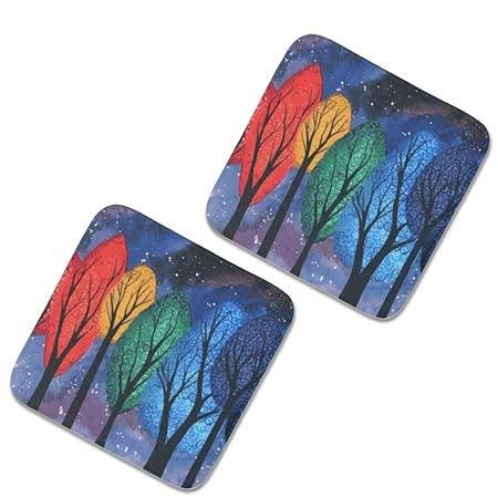 2 cojines cuadrados para sillas de cocina,40 x 40 noches color arco iris remolinos árboles estrellados