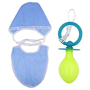 FENICAL 3 Pcs Adult Fancy Dress Baby Costume Pacifier Bib Hat Cosplay Accessories Blue