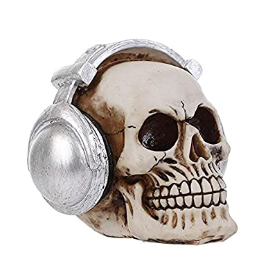 YXF99 Personality Human Skull Decor with Headset, Resin Realistic Simulated Art Creative Skulls Model Ornaments for Home Bar Science Educational Toys, Create Atmosphere YXF99