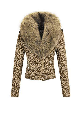 Giolshon Chaqueta Corta de Gamuza Sintética para Mujeres, Chaqueta de Moto con Cuello Desmontable de Piel Sintética Estampado de Leopardo S