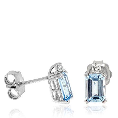 Gioiello Italiano - Pendientes rectangulares de oro blanco de 18kt con diamantes de 0,09ct y aguamarina de 1,78ct, para mujeres