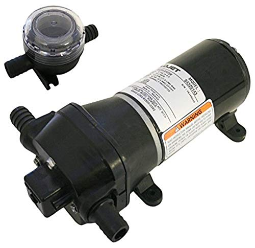 FloJet 04325143A Heavy Duty Automatic Deck Washdown Pump, 4.5 GPM, 40 PSI, 12 Volt, 6 Amp , Black