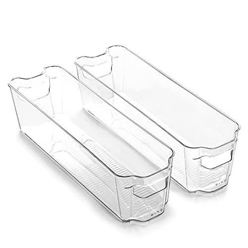 BINO   Stackable Plastic Storage Bins, Small - 2 Pack   THE STACKER COLLECTION   Multi-Use Organizer Bins   BPA-Free   Pantry Organization   Home Organization   Fridge Organizer   Freezer Organizer