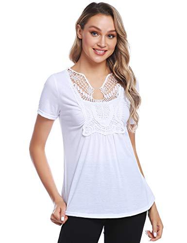 Aibrou Mujer Casual Camiseta de Encaje Delantera Verano Blusa de Manga Corta Camisa con Volantes Sueltos Tops básicos