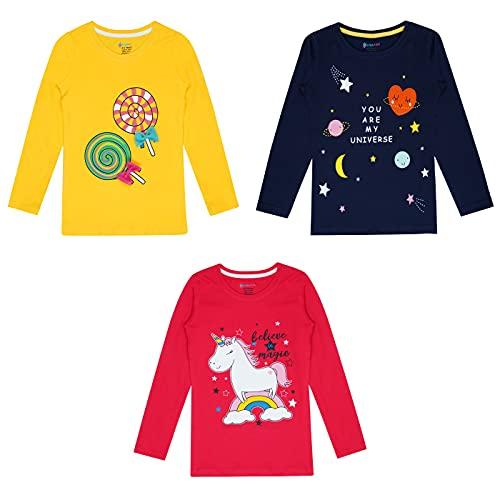 KYDA KIDS 100% Breathable Cotton Girls Full Sleeve Printed Tshirt...