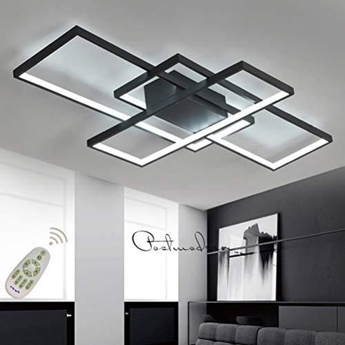Moderna lámpara LED de techo para salón, regulable, pantalla de acrílico, lámpara de techo de diseño cuadrado, lámpara de comedor con mando a distancia, lámpara de...